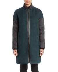 Zac Zac Posen | Green Blue Fox Fur-trimmed Coat | Lyst