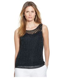 Lauren by Ralph Lauren | Blue Plus Metallic Pointelle Tank | Lyst