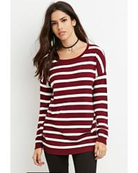 Forever 21 - Purple Striped Drop-sleeve Sweater - Lyst