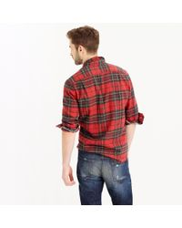 J.Crew | Red Wallace & Barnes Heavyweight Flannel In Brodie Tartan for Men | Lyst