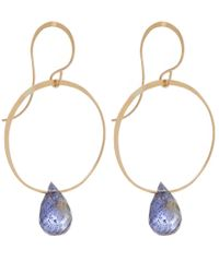 Melissa Joy Manning - Metallic Gold And Iolite Hoop Drop Earrings - Lyst