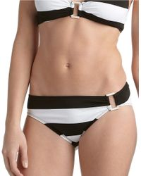 Lauren by Ralph Lauren | Black Regatta Striped Tab Hipster Swim Bottom | Lyst