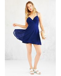 Kimchi Blue - Blue Deep-v Scallop-edge Strappy-back Dress - Lyst