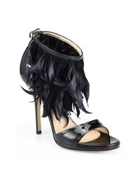 Paul Andrew - Black Amazon Feathertrimmed Patent Leather Sandals - Lyst