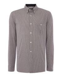 French Connection - Black Lifeline Check Slim Fit Long Sleeve Shirt for Men - Lyst