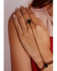 Missguided | Brown Stone Gem Hand Harness Gold | Lyst