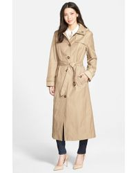 London Fog - Natural Single Breasted Long Trench Coat With Detachable Hood - Lyst