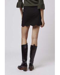 TOPSHOP - Black Tall Scallop Hem Mini Skirt - Lyst