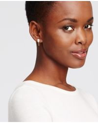 Ann Taylor - Pink Mini Stone Hoop Earrings - Lyst
