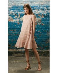 Tibi Pink Windowpane Jacquard Drop Waist Dress