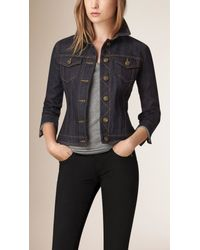 Burberry - Blue Peplum-Waist Denim Jacket - Lyst