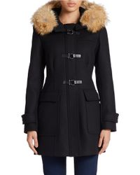Trina Turk | Black Coyote Fur-lined Hooded Toggle Coat | Lyst
