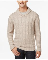 Weatherproof | Natural Vintage Cable-knit Shawl-collar Sweater for Men | Lyst