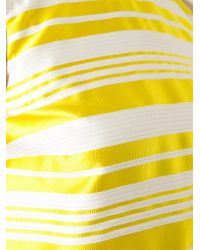 RED Valentino - Yellow Striped Sleeveless Blouse - Lyst