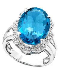 Macy's | 14k White Gold Ring, Blue Topaz (10-9/10 Ct. T.w.) And Diamond Accent Oval | Lyst