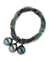 Assael | Metallic Black Diamond Twist Bracelet With Tahitian Pearls | Lyst