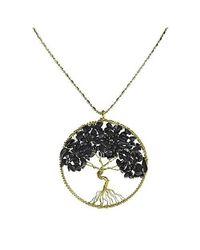 Aeravida | Metallic Black Onyx Stone Eternal Tree Of Life Brass Long Necklace | Lyst