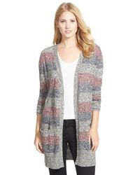 Caslon - Blue Marled Stripe Long Cardigan - Lyst