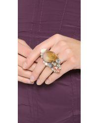 Nina Ricci - Metallic Double Finger Ring Rose Multi - Lyst