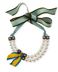 Lanvin - Green Short Striped Grosgrain Pearly Bib Necklace - Lyst