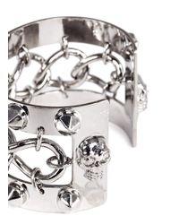 Alexander McQueen | Metallic Skull Chain Studded Cuff | Lyst