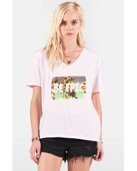 Volcom - Pink 'toxic' Graphic V-neck Tee - Lyst