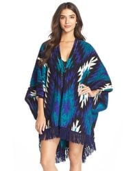 Kensie | Blue Fleece Poncho Robe | Lyst