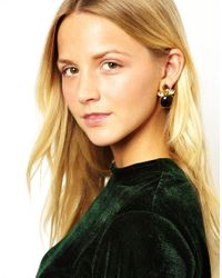 Kasturjewels - Brown 22kt Gold Plated Brass Smooth Polished Stone Earrings - Lyst