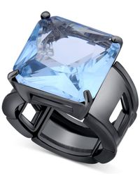 T Tahari | Hematite-tone Blue Crystal Cocktail Stretch Ring | Lyst