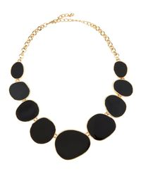 Kenneth Jay Lane | Oval Enamel Station Bib Necklace Black | Lyst
