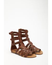 c9ed3169a Forever 21 Faux Leather Gladiator Sandals in Brown - Lyst