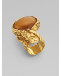 Saint Laurent - Metallic Goldtone Arty Ovale Ring for Men - Lyst