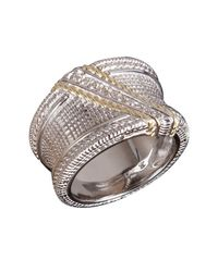 Judith Ripka | Metallic Diamond Pave Crosshatched Wide Band Ring | Lyst