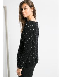 Mango - Black Embossed Polka-Dot Sweater - Lyst