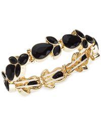 Anne Klein | Black Gold-tone Jet Stone Stretch Bracelet | Lyst