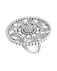Lagos | Metallic Sterling Silver Voyage Caviar Floral Ring | Lyst