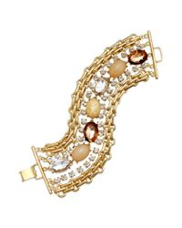 INC International Concepts | Metallic Gold-tone Multirow Natural Oval Stone Bracelet | Lyst