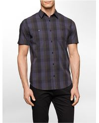 Calvin Klein | Purple White Label Classic Fit Square Multi Check Short Sleeve Shirt for Men | Lyst
