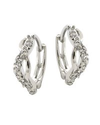 Lord & Taylor | Metallic Sterling Silver And Cubic Zirconia Twist Hoop Earrings | Lyst