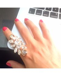 Mews London | Metallic Crystal Crest Ring | Lyst