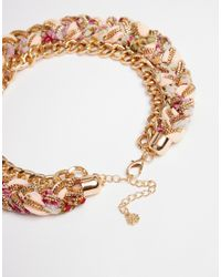 Pieces   Metallic Dolly Fabric Braid Necklace   Lyst