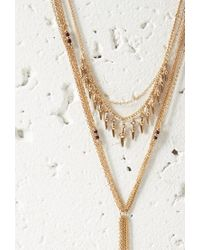 Forever 21 - Metallic Bead Layered Drop Necklace - Lyst