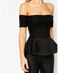 ASOS | Black Peplum Top With Bardot Off Shoulder In Bonded Lace | Lyst