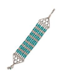 Lucky Brand | Green Silvertone Turquoise Beaded Multirow Bracelet | Lyst