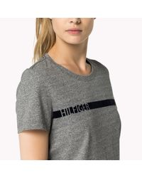 Tommy Hilfiger | Gray Cotton Blend Striped T-shirt | Lyst