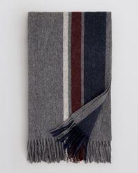 Bloomingdale's - Gray Triple Stripe Blanket Scarf for Men - Lyst