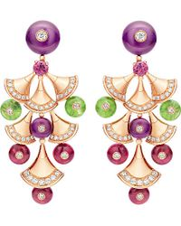 BVLGARI | Green Divas' Dream 18kt Pink-gold Earrings | Lyst