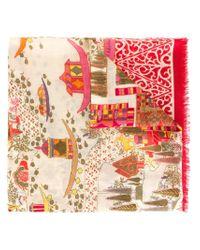 Ferragamo - Red Patchwork Print Scarf - Lyst