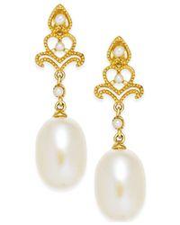Macy's - Metallic Cultured Freshwater Pearl (7mm) Drop Earrings In 14k Gold - Lyst