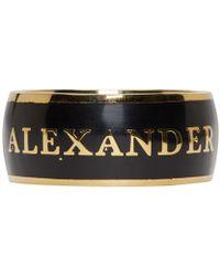 Alexander McQueen | Metallic Black Enamel Ring | Lyst